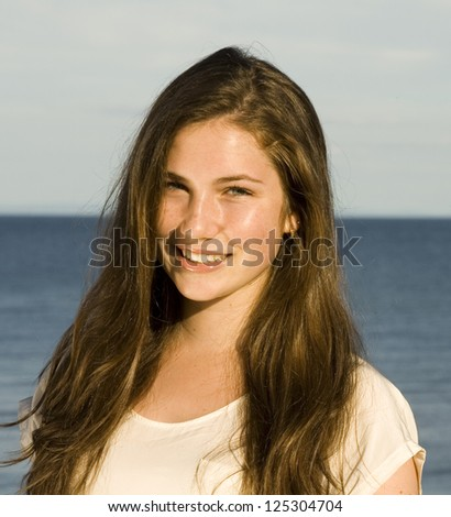 Long Brown Hair Beauty - stock photo