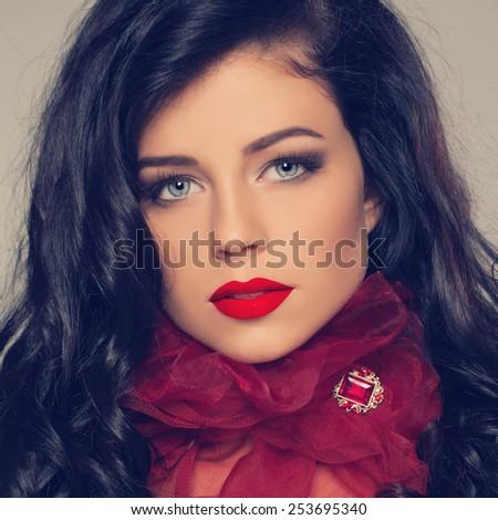 Long c�urly brunette hair woman, fashion model portrait - stock photo