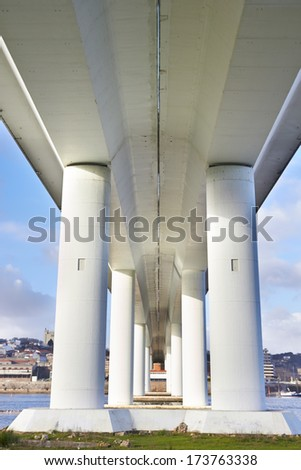 long concrete bridge in Porto, Portugal - stock photo