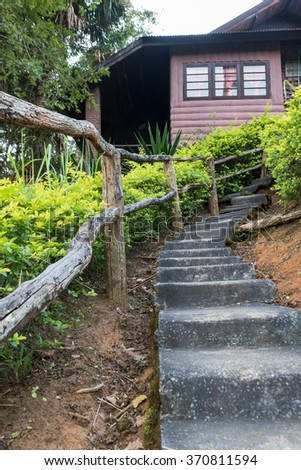 Long concrete stairway, focus on the midle steps - stock photo