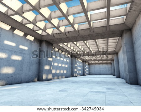 Long concrete tunnel illuminated by sunlight - stock photo