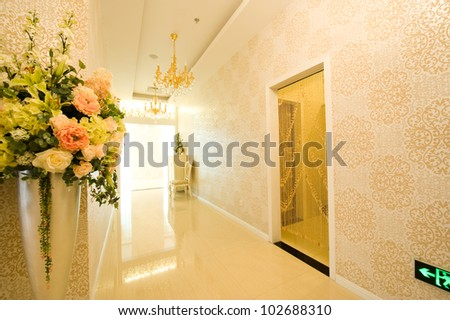 long corridor in a modern building. - stock photo
