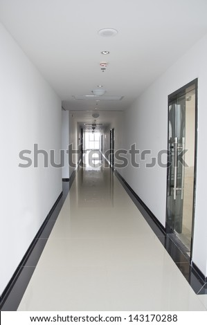 long corridor in the hospital - stock photo