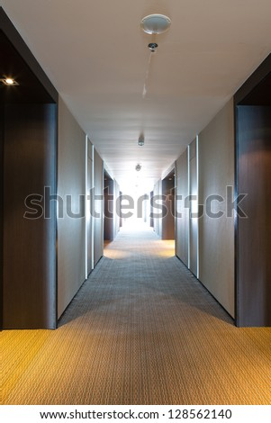 long corridor of hotel room - stock photo