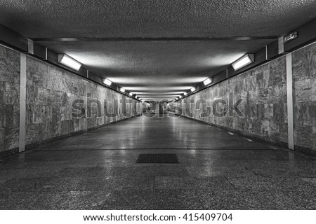 long corridor perspective, tunnel, passage - stock photo