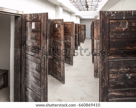 Long corridor with many open prison cell doors. Vintage image. & Open Prison Door Stock Images Royalty-Free Images u0026 Vectors ... pezcame.com