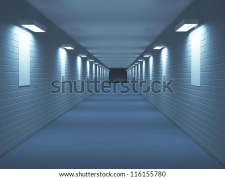 Long corridor with pictures on a wall - stock photo