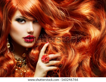 Long curly red hair fashion woman stock photo 160246766 shutterstock long curly red hair fashion woman portrait beauty model girl with luxurious hair pmusecretfo Image collections