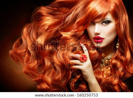 Hair extensions stock images royalty free images vectors long curly red hair fashion woman portrait beauty model girl with luxurious hair pmusecretfo Choice Image
