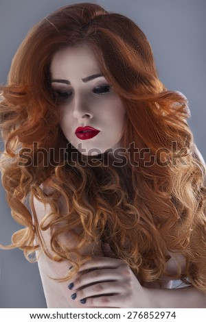Pleasing Long Curly Red Hair Stock Images Royalty Free Images Vectors Short Hairstyles For Black Women Fulllsitofus