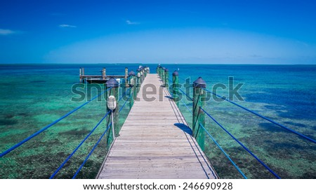 Long dock extends out into the Florida Keys - stock photo