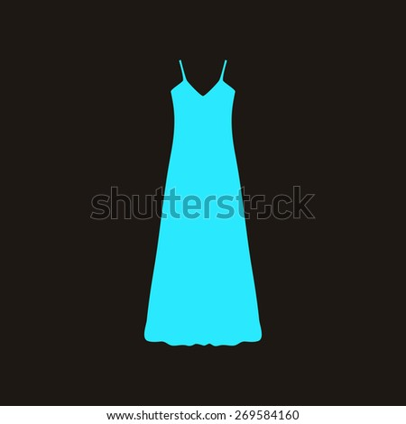 long Dress, Evening dress, combination or nightie , the silhouette. Menu item in the web design. - stock photo