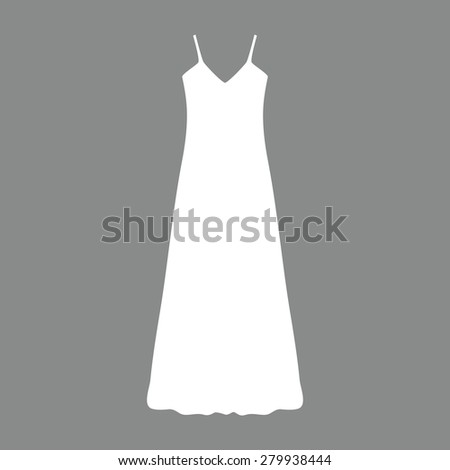 long Dress, Evening dress, combination or nightie , the silhouette. Menu item in the web design - stock photo