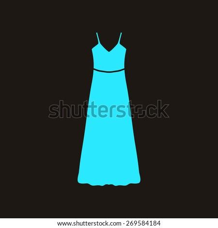 long Dress, Evening dress or sundress with belt , the silhouette. Menu item in the web design. - stock photo