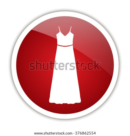 long Dress, Evening dress or sundress with belt, the silhouette. Menu item in the web design. - stock photo