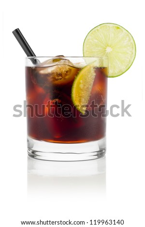 long drink cuba libre in front of white background - stock photo