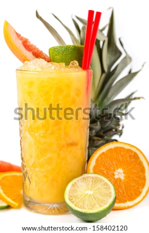 long drink orange coctail with citruses garnish - stock photo