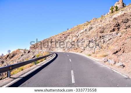 Long Empty Desert Asphalt Road in Tenerife Canary Islands Spain