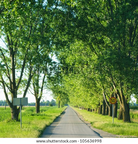 Long empty rural road with traffic signs - stock photo