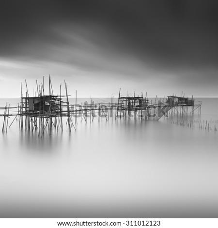 Long exposure black and white image of langgai the traditional fishing medium at
