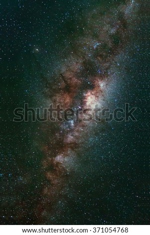 Long exposure capture of Universe space milky way galaxy with many stars at night, Astronomy photography. - stock photo