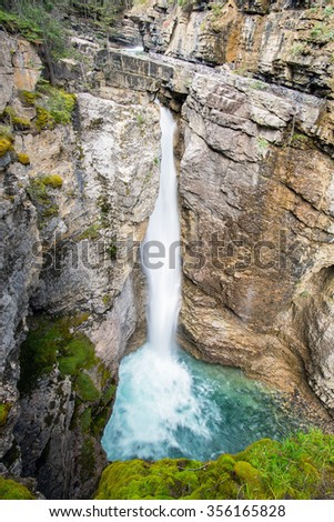 long exposure fall in the Johnston Canyon of the banff national park in alberta canada