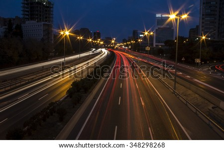 Long exposure highway car lights at night