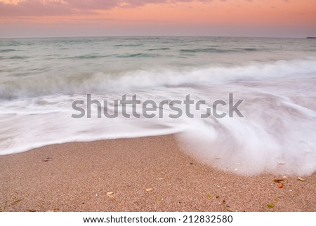 Long exposure image of a beach in Black Sea, Romania