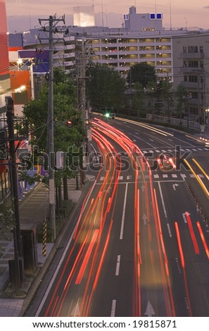 Long exposure image of a colorful sunset in a big city.Location Sendai,Japan. - stock photo