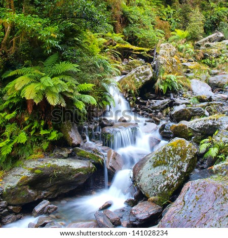 Long Exposure image of a Waterfall in Lush Temperate Rainforest on the West Coast of New Zealand - stock photo