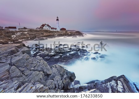 Long exposure image of Portland Head lighthouse (Cape Elizabeth, Maine). - stock photo