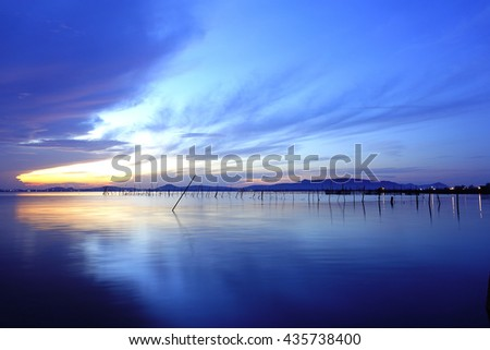 "Long exposure image of ""Sonkhla Lake"" during before sunrise on 13 June 2016 at Songkhla Southern Thailand.Image has certain noise and soft focus when view at full resolution"
