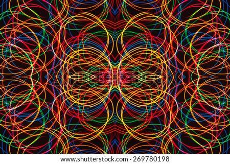 Long exposure multicolor small neon lights texture. Modern art. Abstract multicolor neon light. - stock photo