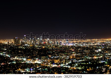 Long exposure night view of Los Angeles downtown and surrounding metropolitan area from the Hollywood hills