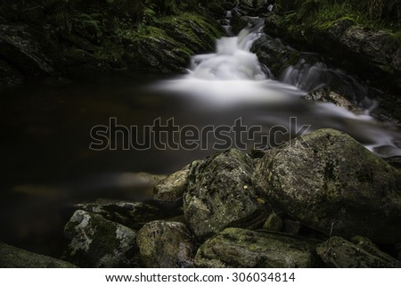 long exposure of a mountain river with mossy stones and soft water