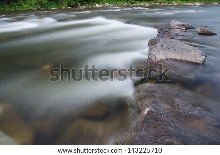 long exposure of a river flowing over rocks with silky blurred water