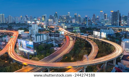 Long exposure of Aerial view  Express ways in Bangkok - stock photo