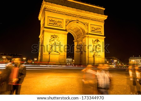 Long exposure of Arc de Triumph in Paris, France - stock photo