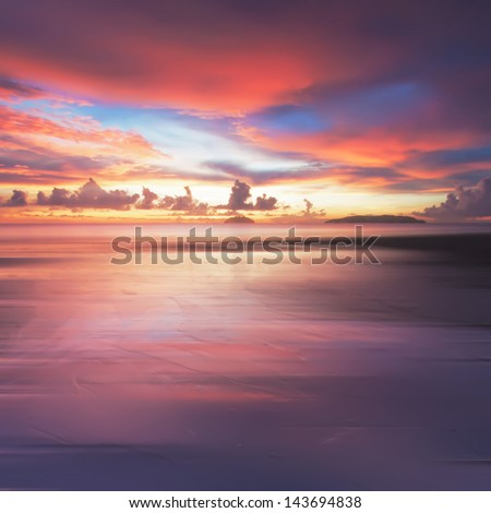 Long Exposure of Colorful sunset for background