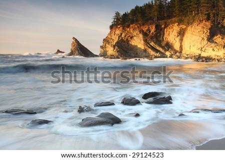 Long exposure of incoming waves at Sunset Bay on the Oregon coast.