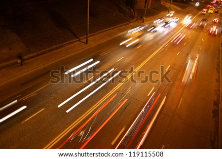 Long exposure of night road traffic in Kyiv, Ukraine - stock photo