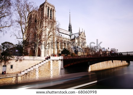 Long exposure of Notre Dame and seine river (Side view) , paris.