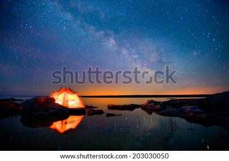 Long Exposure of Stars - stock photo