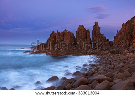 Long exposure of the shoreline at the Pinnacles on Phillip Island - stock photo