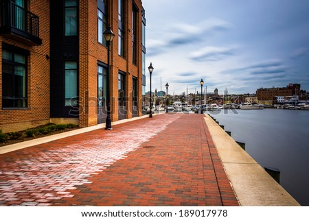 Long exposure of the Waterfront Promenade in Fells Point, Baltimore,   Maryland. - stock photo