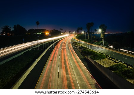 Long exposure of traffic on US 101 at night, in Ventura, California.