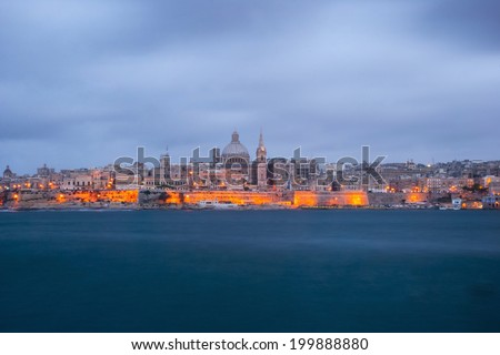Long exposure of Valletta sinery, capital of Malta - stock photo
