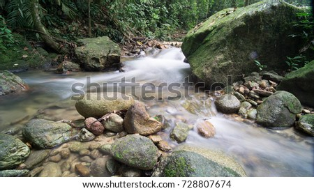 Long exposure of water stream in the river at Sungai Liam, Ulu Yam Selangor Malaysia. Image contain excessively noise/sharp or blur due to long exposure.