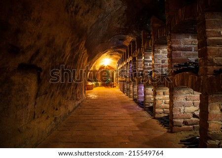 Long exposure of wine cellar with many kinds of wine bottles - stock photo