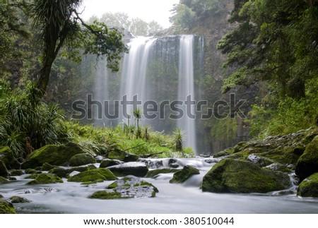 Long exposure photo of Whangarei Waterfalls New Zealand - stock photo